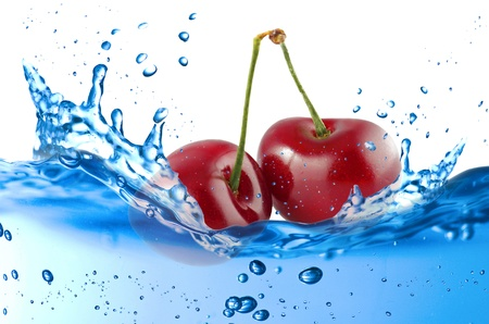 Cherry splash in the water over white background Stock Photo - 21263789