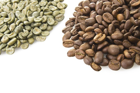 unroasted: Coffee beans raw and toasted close up on the white  Stock Photo
