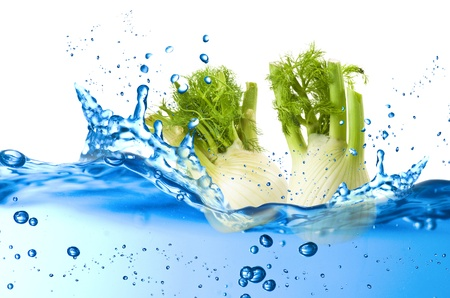 Fennel splash in the water over white background Stock Photo - 21263797