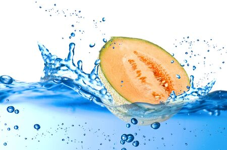 Melon splash in the water over white background Stock Photo - 21263808
