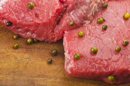rump steak with green pepper and salad photo