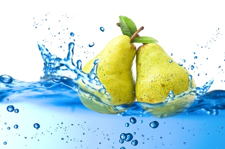 pear splash in the water over white background Stock Photo - 21263825