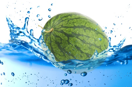 Watermelon splash in the water over white background Stock Photo - 21263829