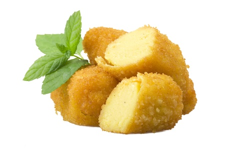 potato croquettes close up on the white Stock Photo