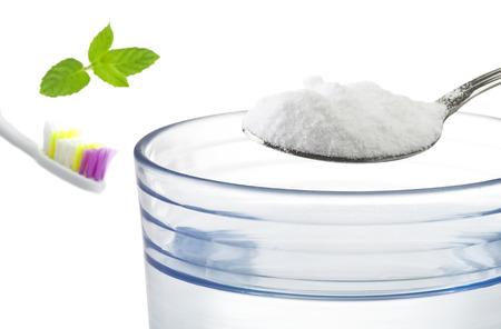 neutralizer: Iron spoon of baking soda close up  Stock Photo