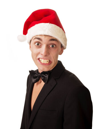 surprised man wearing a christmas on the white photo