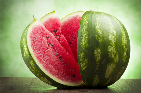 watermelon slice: Fresh watermelon sliced close up on the table  Stock Photo