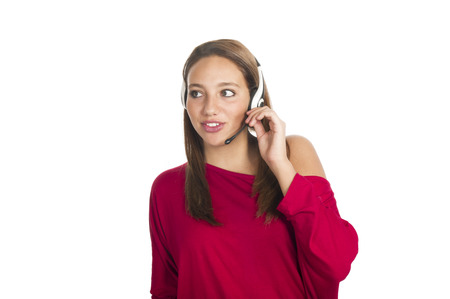 blabber: young smiling girl talks by mobile phone
