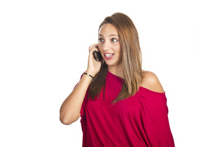 blabber: sad young girl talks by mobile phone