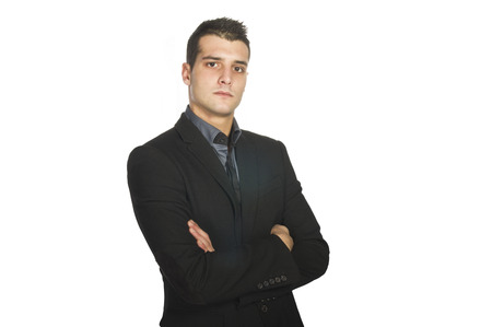 finer: Young Business man ready to work on the white Stock Photo