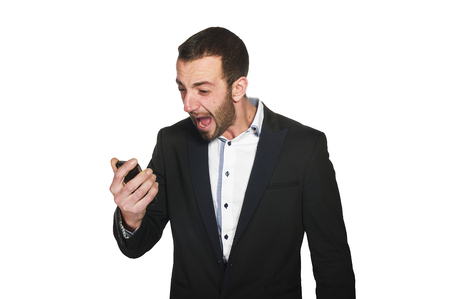 business man screaming on cell mobile phone, photo
