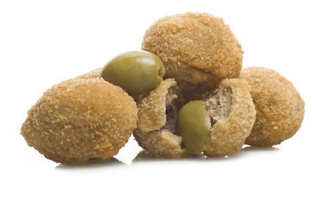 Group of stuffed olives close up on the white Banco de Imagens