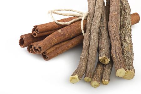 cinnamon stick: Cinnamon stick and Liqorice on the white