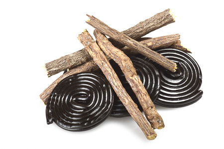 licorice: Licorice roots and licorice black on the white