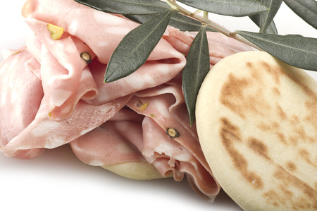 bologna baloney: cooked boiled ham sausage or rolled bologna slices Stock Photo
