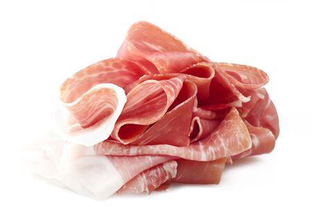 raw ham: Italian prosciutto crudo ,raw ham leg sliced on white