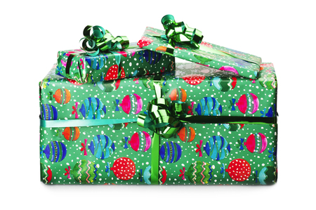 bounded: Big giftbox bounded with green ribbon on white Stock Photo