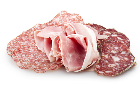 italian salami: Mix of various Italian salami on white