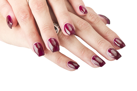 nailart: Close up of Female hands with red manicure