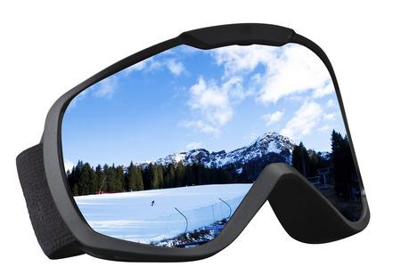 skier mask with reflection of the ski slope  Stock Photo