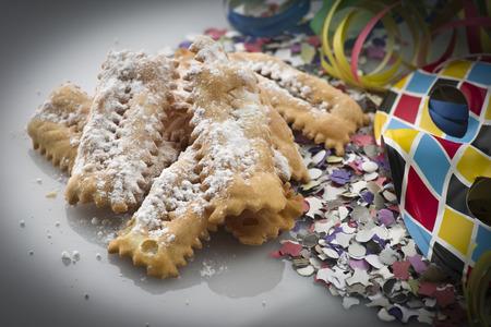 crostoli: Tipical italian cake Chiacchere for carnival party Stock Photo