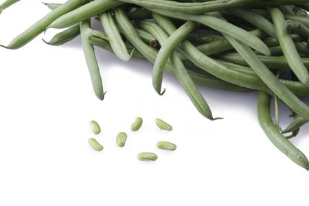 Group of fresh green bean on the white