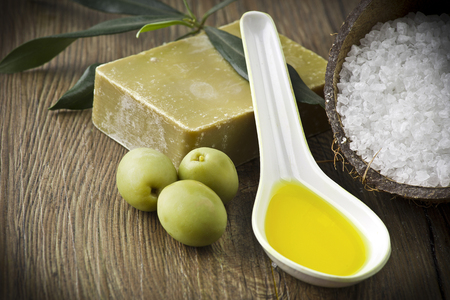 Soap and natural ingredients to olive oil Stock Photo