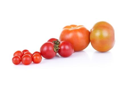 Three types of tomato with white background photo