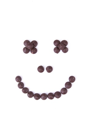 morsels: Chocolate face of morsels with white background