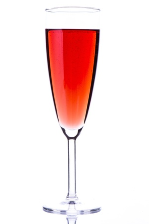 Rose champagne flutes with white background photo