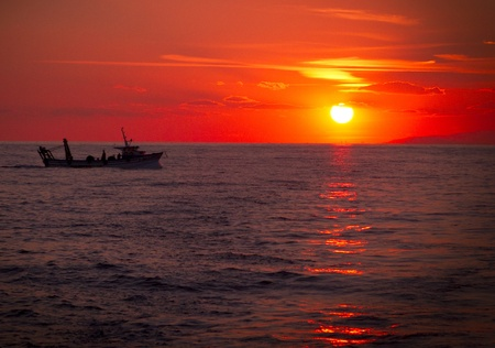 shrimp boat: Fishing trawler on the water at sunset