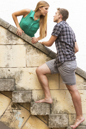 love confession: Romantic couple with passion and love