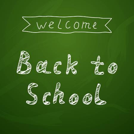 school supplies: Welcome Back To School Typographical Background On Chalkboard