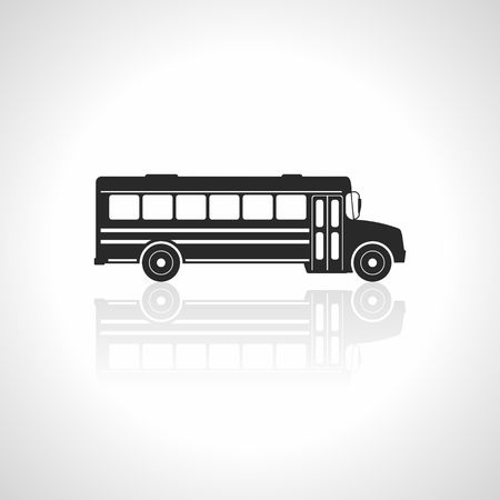 back view: School bus icon. Illustration Vector