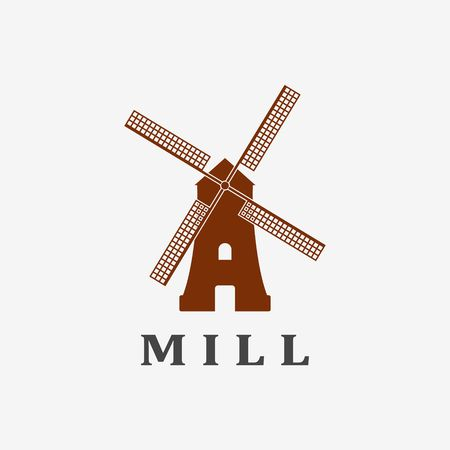 spinning windmill: Windmill icon or sign isolated on grey background Illustration