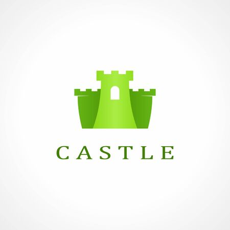 fort: green castle icon on white background Illustration