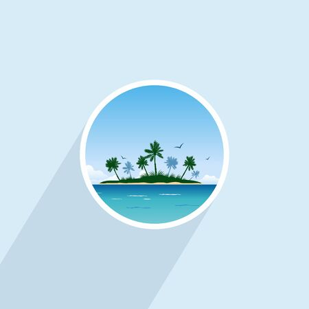 carribean: Tropical island with palm trees. Round icon