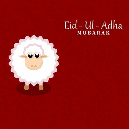 sacrificio: Festival de la comunidad musulmana del sacrificio tarjeta de felicitaci�n de Eid-Ul-Adha Mubarak con las ovejas