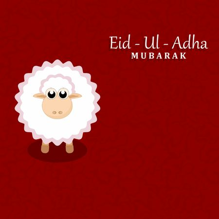 Muslim community festival of sacrifice Eid-Ul-Adha mubarak greeting card with sheep