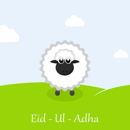 oveja: Festival de la comunidad musulmana del sacrificio tarjeta de felicitación de Eid-Ul-Adha Mubarak con las ovejas