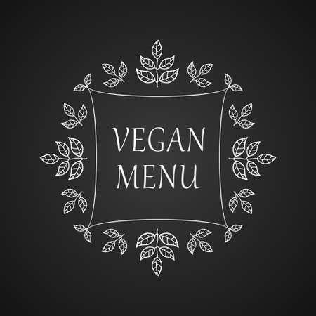 leaf illustration: Vegan menu. Restaurant label. Suitable for ads, signboards, menu and web banner designs Stock Photo