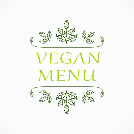 herbal background: Vegan menu. Restaurant label. Suitable for ads, signboards, menu and web banner designs Stock Photo