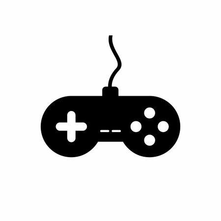 Zwarte pictogram gamepad. Vector illustratie Stock Illustratie