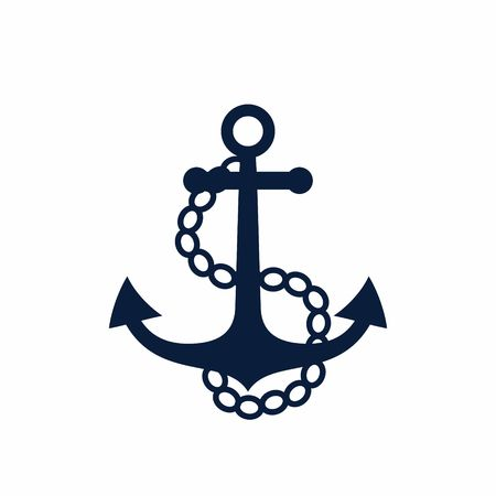 navy pier: Old anchor with chains. Vector illustration
