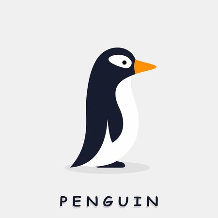 Penguin flat style. Vector illustration