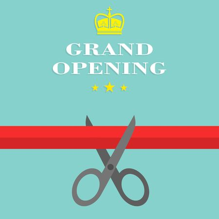 scissors cutting: Grand opening Flat Style. Vector illustration