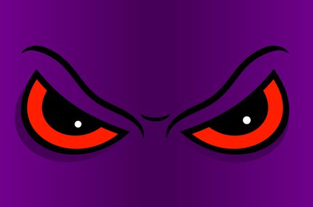 sullen: Angry eyes in cartoon. Vector illustration