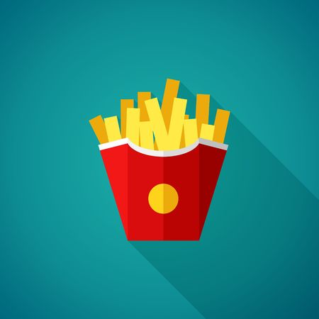 unhealthy food: French fries icon. Fast Food Vector Illustration Illustration