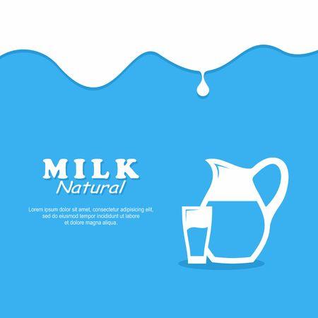 배경 우유. 유리 우유와 투 일러스트