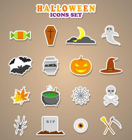 halloween ghost: Halloween icons. Stickers Vector Illustration